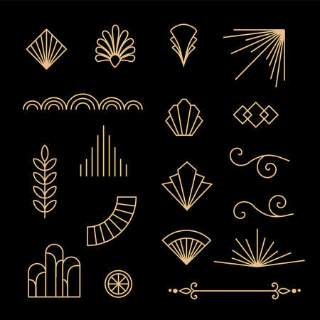 Beautiful set of Art Deco, Gatsby palmette ornates and design elements from 1920s fashion and design trends vector