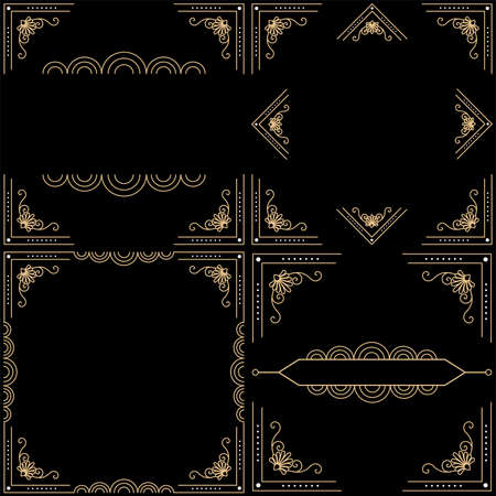 Beautiful Art Deco vector template, set of 20s style elements 向量圖像