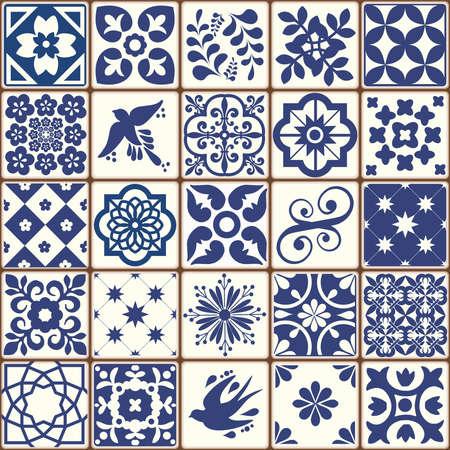 Blue Portuguese tiles pattern - Azulejos vector, fashion interior design tiles Foto de archivo - 155077209