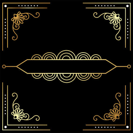 Beautiful Art Deco vector template, set of 20s style elements Vectores