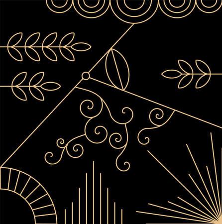 Art Deco gold pattern, decoration, 1920s theme vector