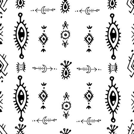 Beautiful boho hand drawn artistic, ethnical, tribal seamless monochromatic pattern vector