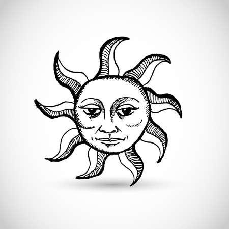 Retro hand drawn vector sun with a face Vectores