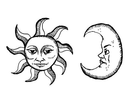 Hand drawn mystic retro sun and moon vector illustration