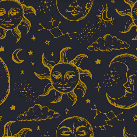 Mystic beautiful hand drawn seamless pattern with sun, moon, stars, sky and galaxy vector