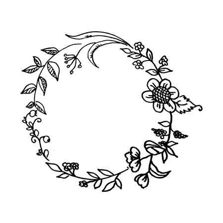 Beautiful hand drawn floral wreath vector