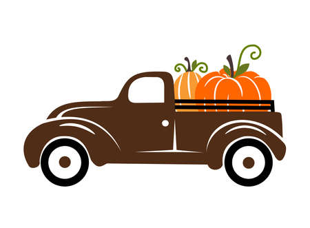 Pumpkins on a truck vector illustration, fall, seasonal art