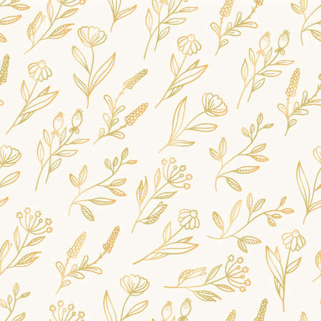 Beautiful delicate gold floral seamless hand drawn, elegant pattern vector art