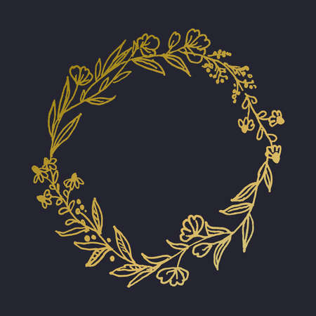 Beautiful hand drawn floral, botanical gold wreath vector