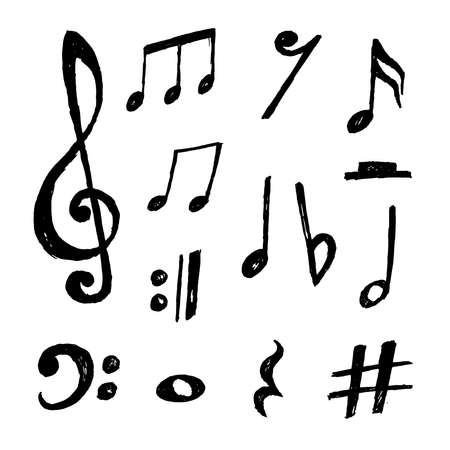 Beautiful collection of hand drawn vector music notes Vecteurs