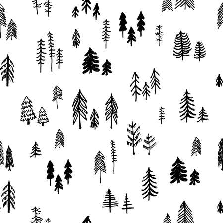 Cute hand drawn forest seamless hand drawn vector pattern Vectores