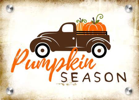 Pumpkins on a truck illustration, fall, seasonal art Foto de archivo