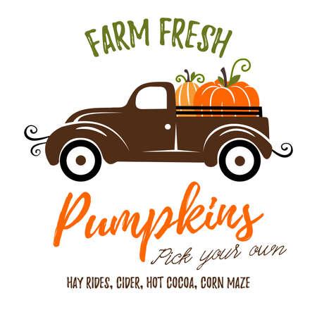Pumpkins on a truck vector illustration, fall, seasonal art Vectores