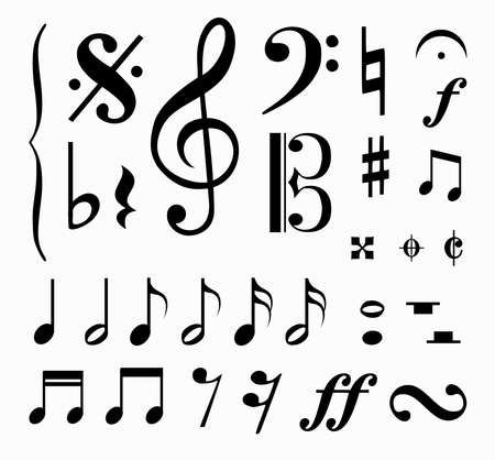 Set of music notes vector Vectores