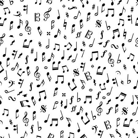 Beautiful seamless vector pattern with music notes