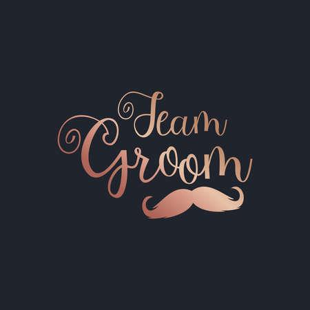 Team Groom beautiful gold text on a black background vector Ilustración de vector
