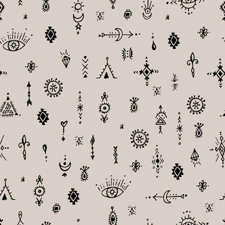 Beautiful boho hand drawn artistic, ethnical, tribal seamless monochromatic pattern vector