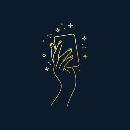 Hand holding a magical card vector line art 向量圖像