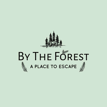 By the forest hand drawn illlustration for logotype vector art