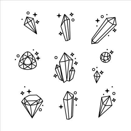 Gemstones vector icon set collection