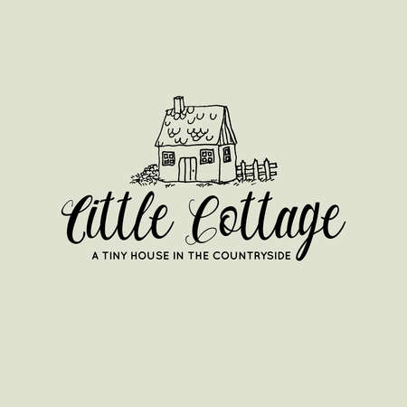 Little cottage cute hand drawn illustration for logo vector