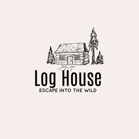 Log House hand drawn illustration for logo concept vector