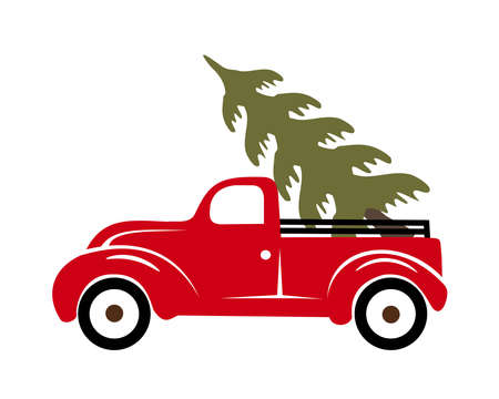 Truck with Christmas tree vector illustration
