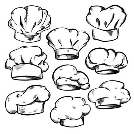 Collection of Chef's hats, hand drawn vector illustration 矢量图像