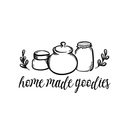 Home made goodies cute hand drawn vector illustration