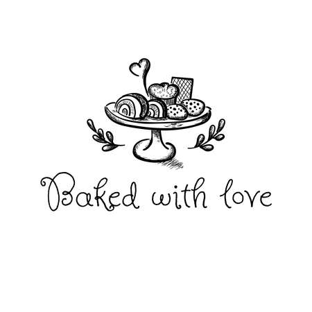 Baked with love cute vector hand drawn illustration