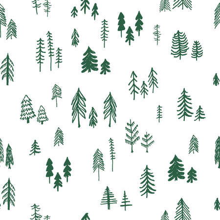 Beautiful pine tree, forest, Christmas tree seamless vector pattern  イラスト・ベクター素材