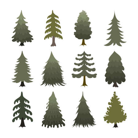 Beautiful set of christmas trees vector illustration