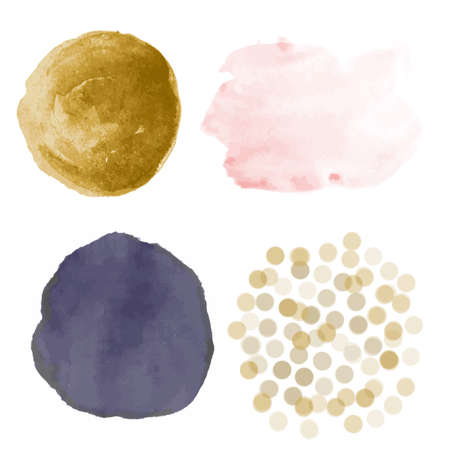 Beautiful set of watercolor gold, pink, navy stains and dust for beautiful design