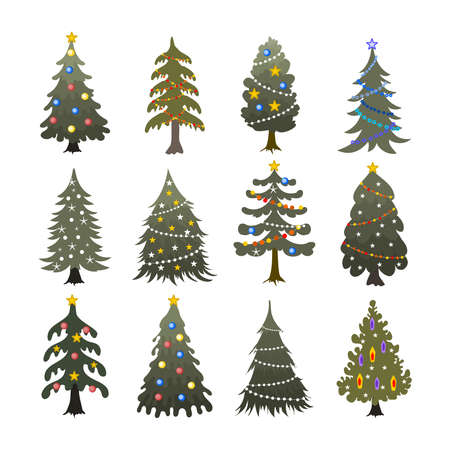 Beautiful set of Christmas trees vector collection  イラスト・ベクター素材