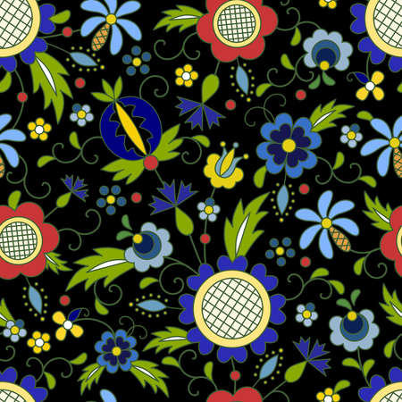 Traditional, modern Polish - Kashubian floral folk pattern vector, Kashubian pattern, Kashubian patterns  イラスト・ベクター素材
