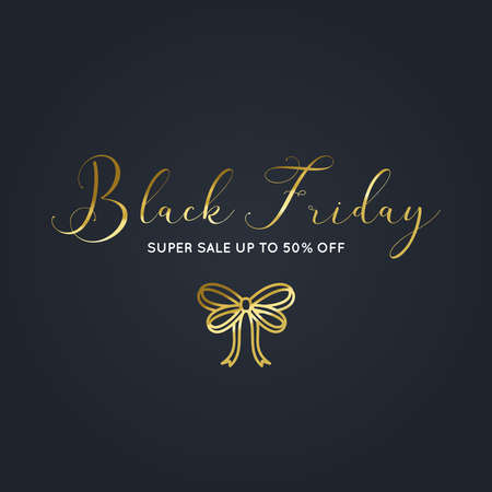 Beautiful Black Friday gold banner with a bow vector
