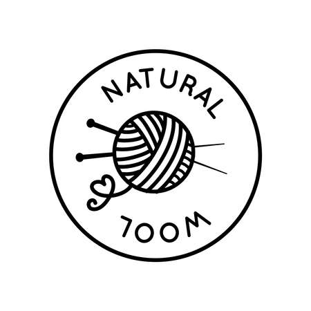 Natural wool round beautiful vector sign