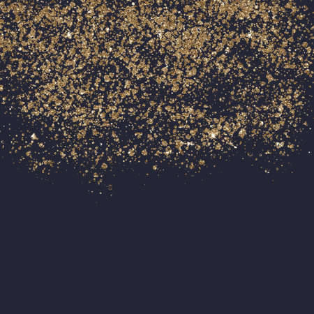Gold dust falling down, behing the black background