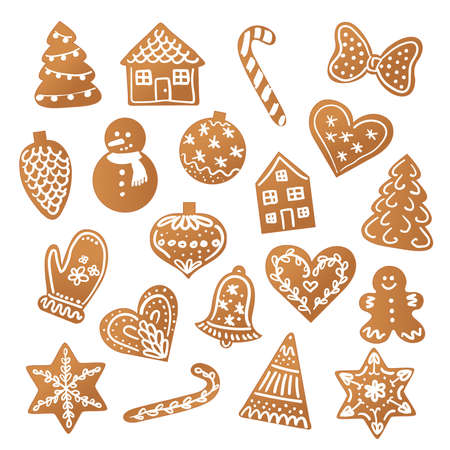 Christmas cute gingerbread cookies with icing vector set  イラスト・ベクター素材