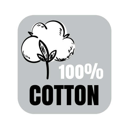 100% cotton vector sign with hand drawn cotton flower 矢量图像