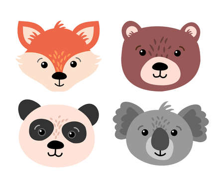 Beautiful set of child style woodland and exotic animals vector collection  イラスト・ベクター素材