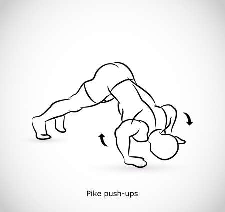 Type of exercise for pike push-ups  イラスト・ベクター素材