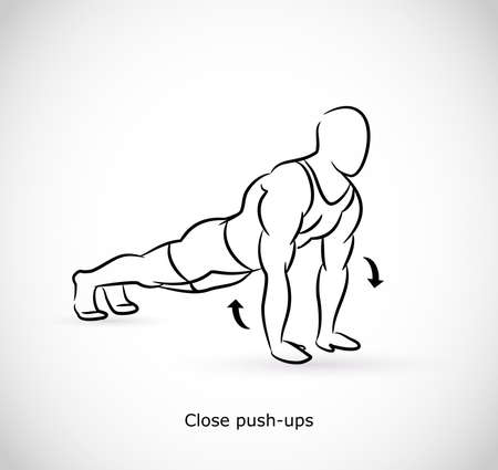 Type of exercise for close push ups  イラスト・ベクター素材