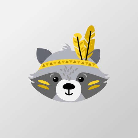 Cute animal illustration tribal, boho style - indian racoon vector