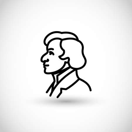 Frederic Chopin - Fryderyk Chopin, Polish famous pianist vector icon thin line style