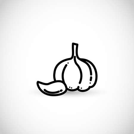 Garlic thin line style vector icon