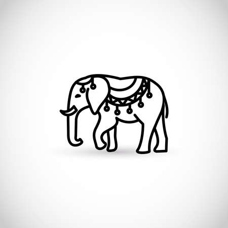 Elephant thin line style vector icon