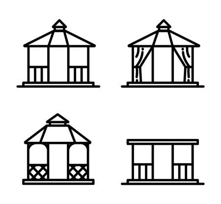 Thin line style gazebos and garden constructions vector set