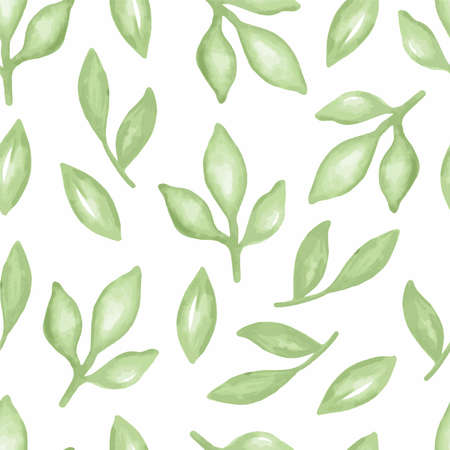 Watercolor delicate leaves seamless vector pattern 矢量图像