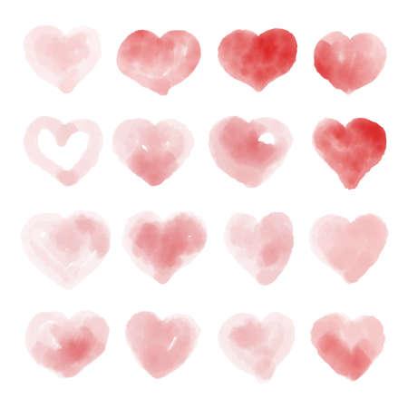 Watercolor beautiful vector heart set